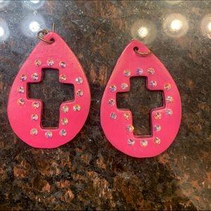 Sookie Sookie pink cross earrings